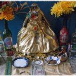 Golden Santa Muerte altar